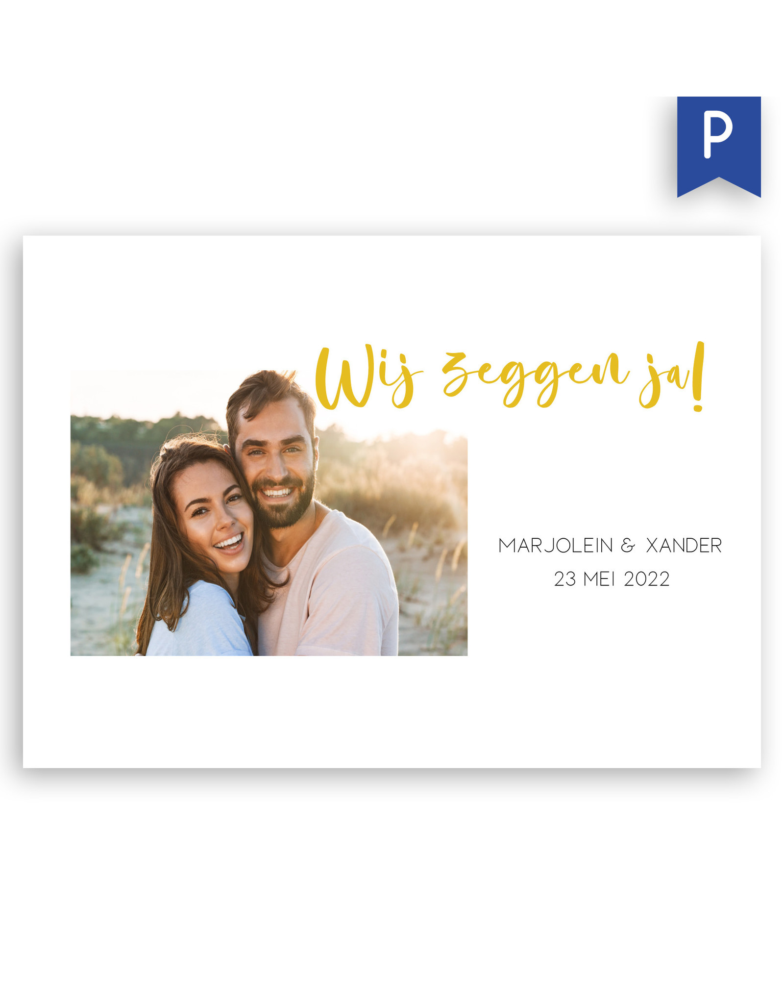 www.Robin.cards Trouwkaarten premium enkel rechthoek Marjolein en Xander
