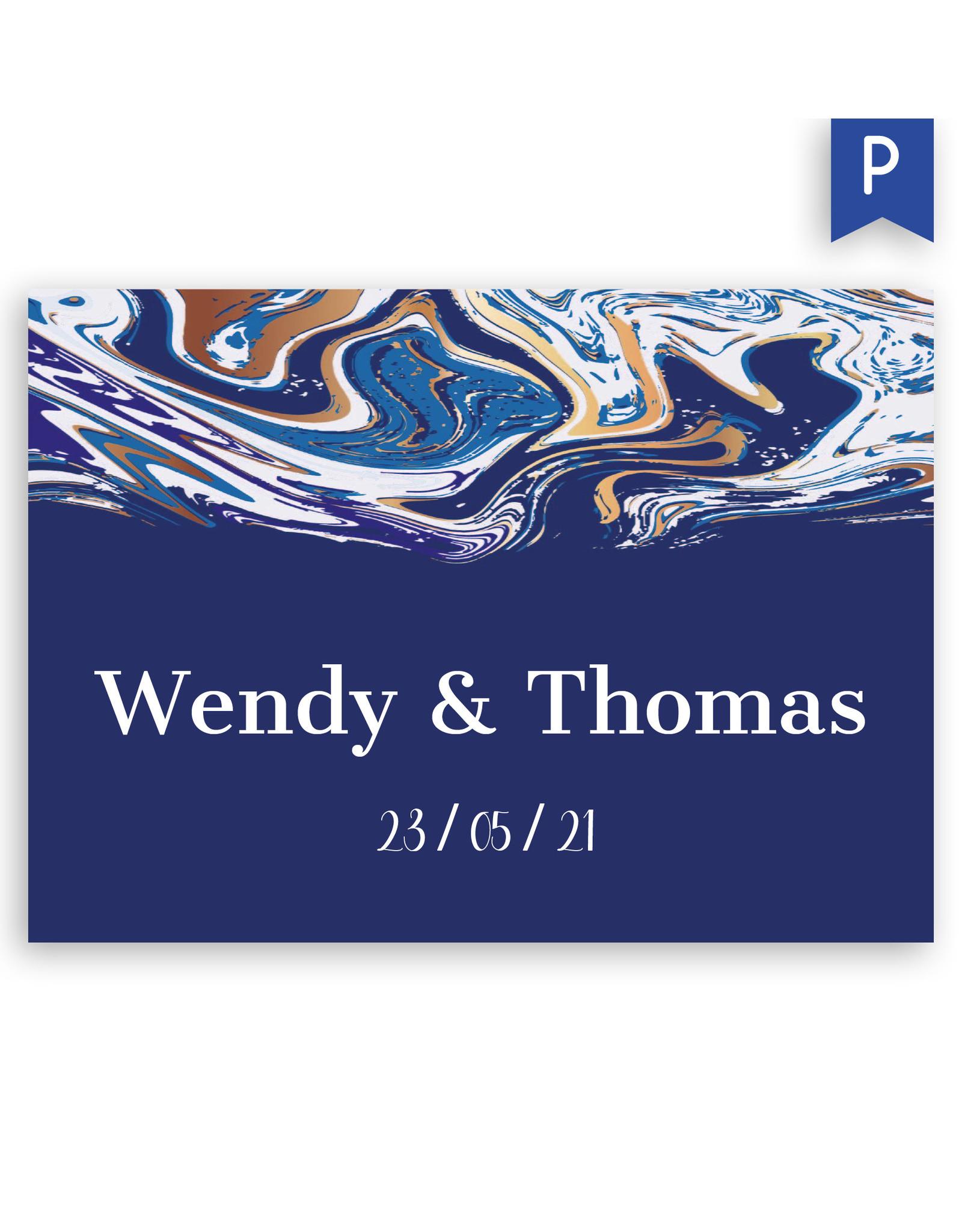 www.Robin.cards Trouwkaarten premium enkel rechthoek Wendy en Thomas