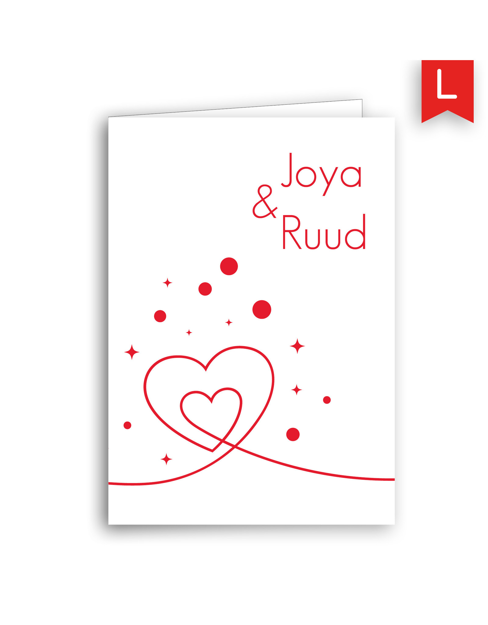 www.Robin.cards Trouwkaarten luxe rechthoek gevouwen Joya en Ruud