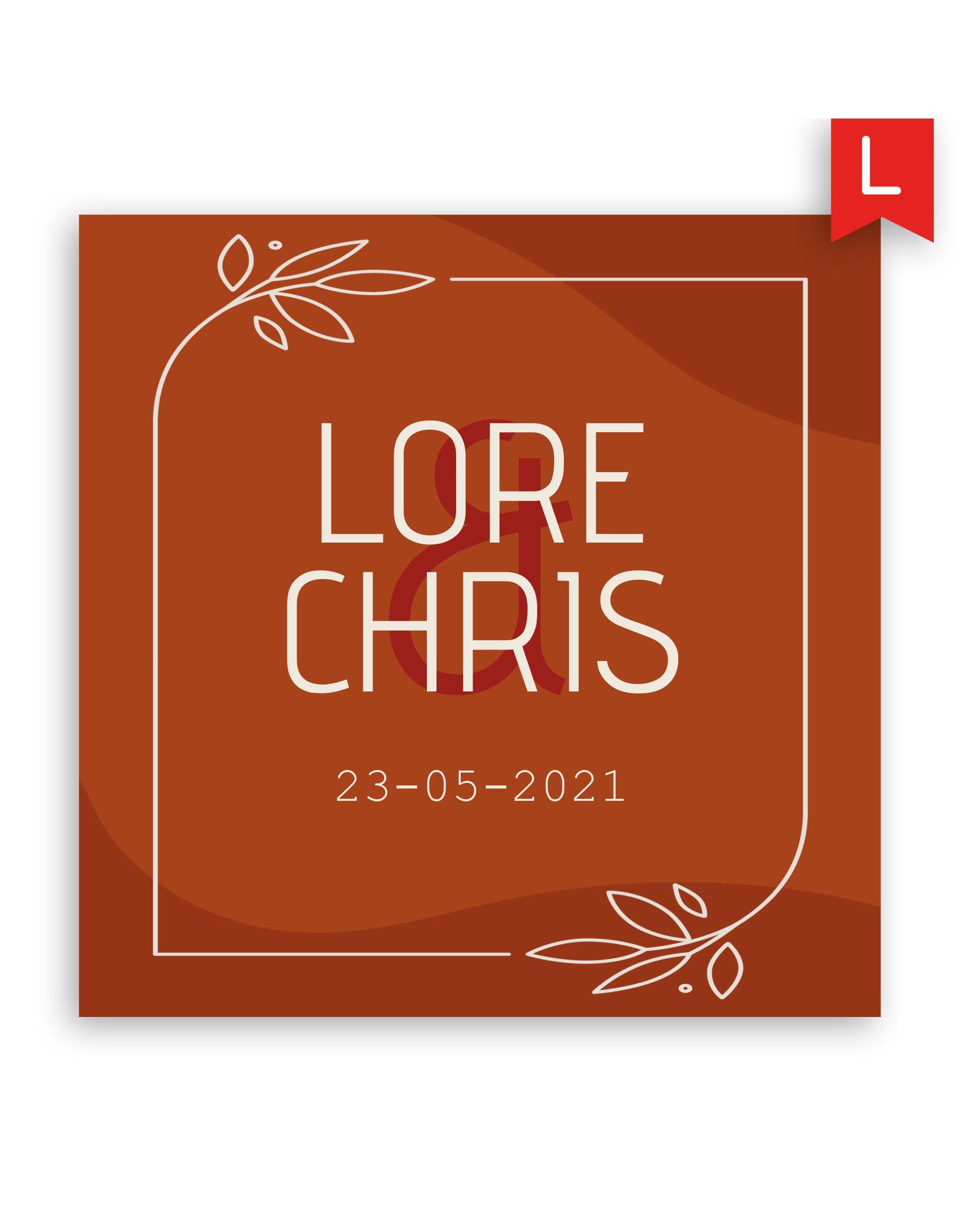 www.Robin.cards Trouwkaarten luxe enkel vierkant Lore en Chris