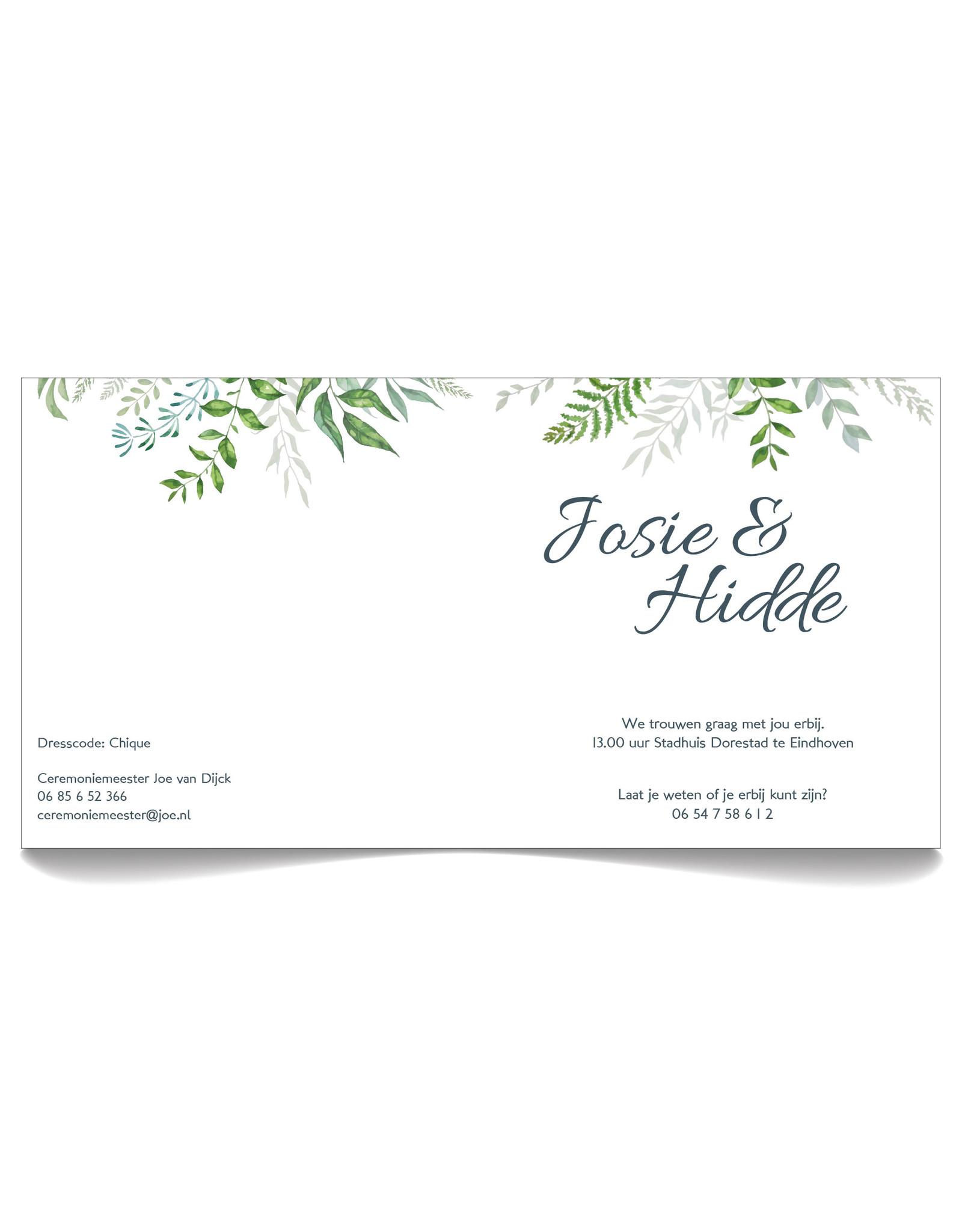 www.Robin.cards Trouwkaarten luxe vierkant gevouwen Hidde en Josie