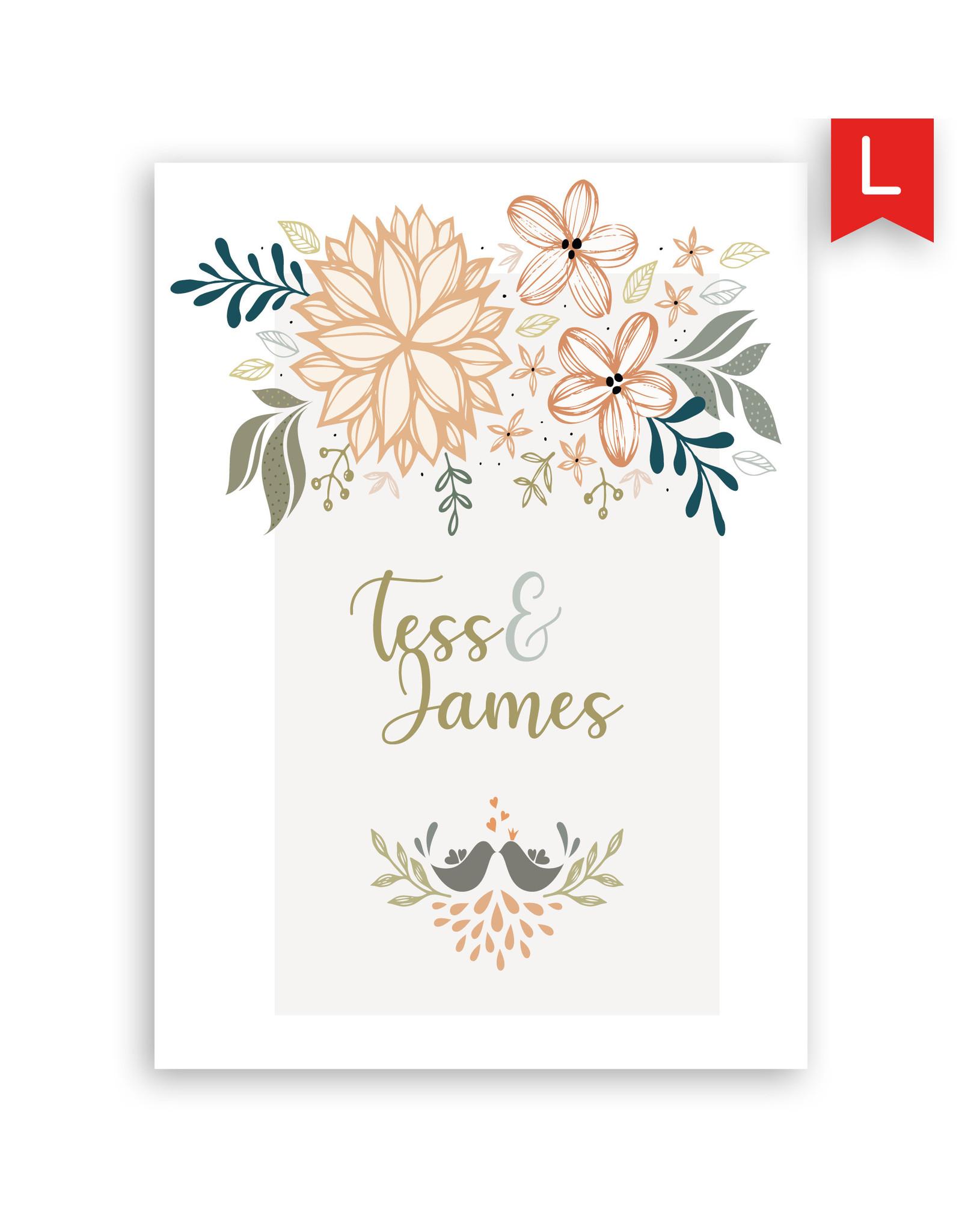 www.Robin.cards Trouwkaart luxe enkel rechthoek Tess en James