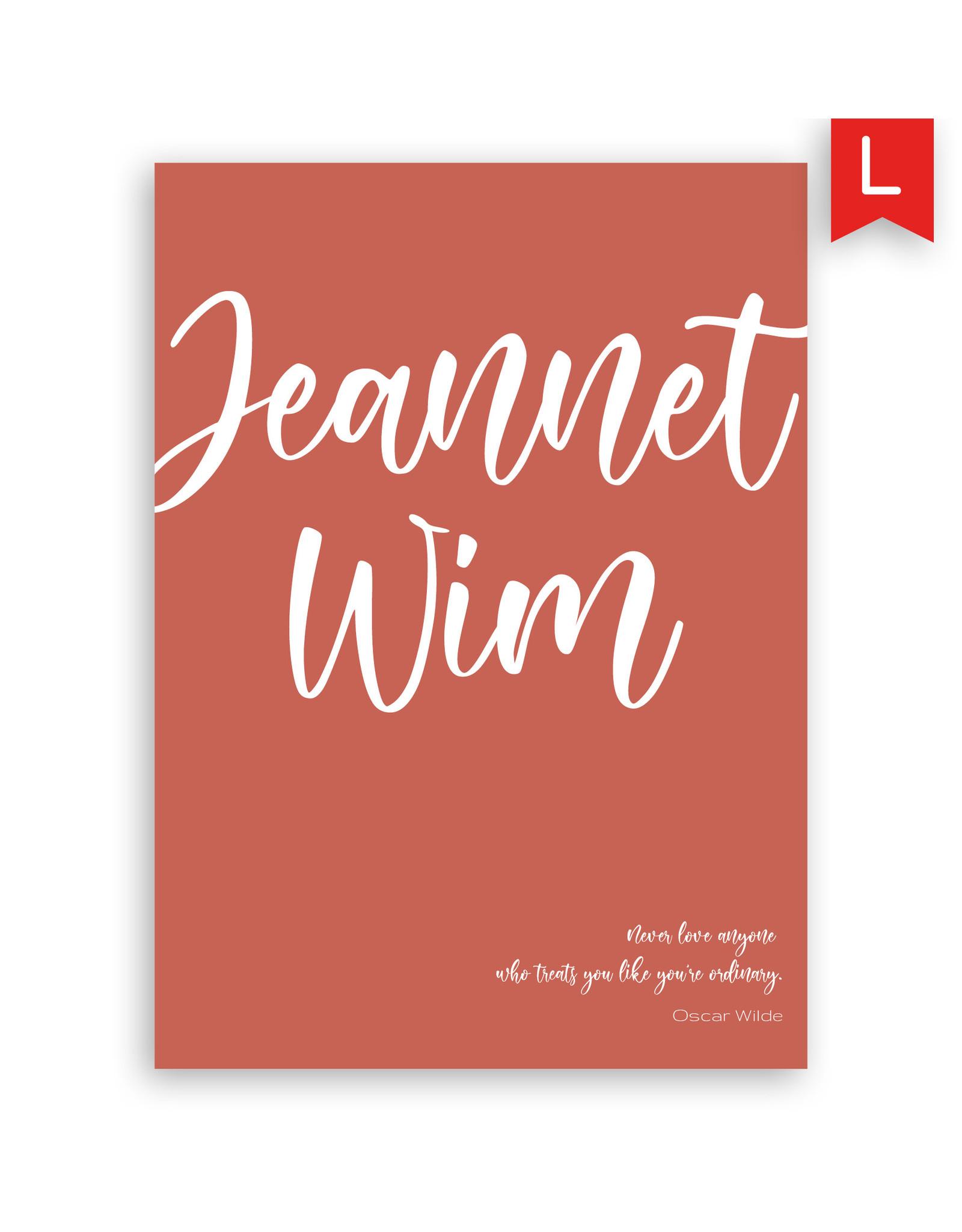 www.Robin.cards Trouwkaart luxe enkel rechthoek Wim en Jeannet