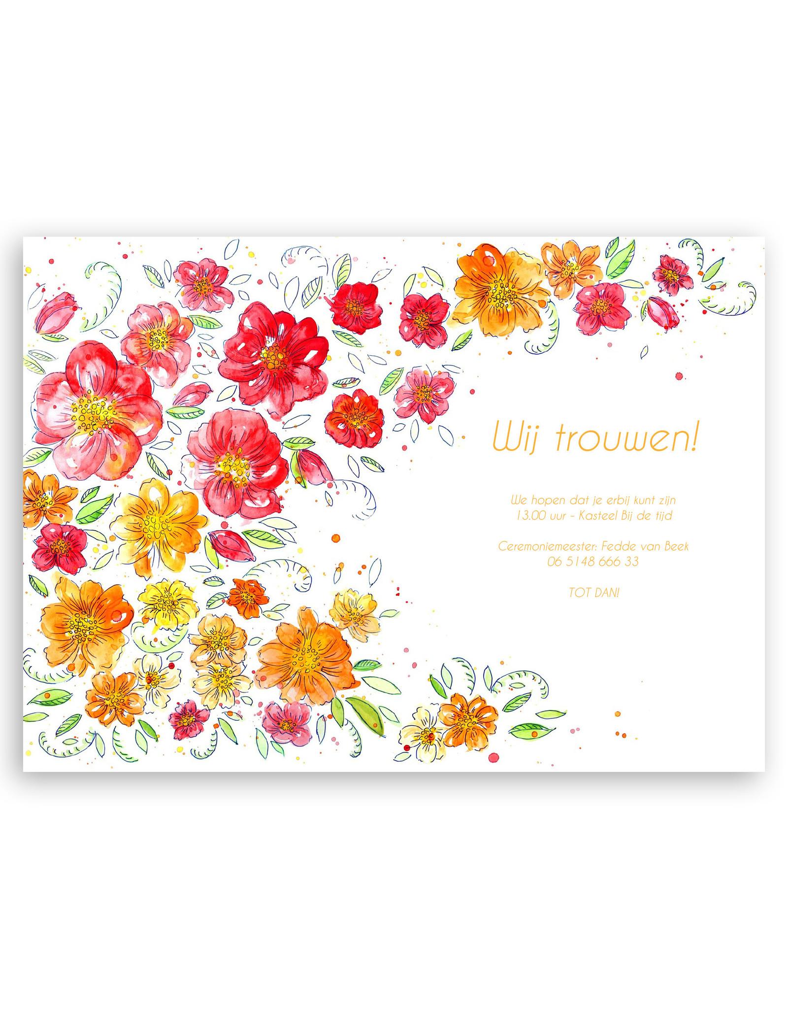 www.Robin.cards Trouwkaart luxe enkel rechthoek Anne en Jasper