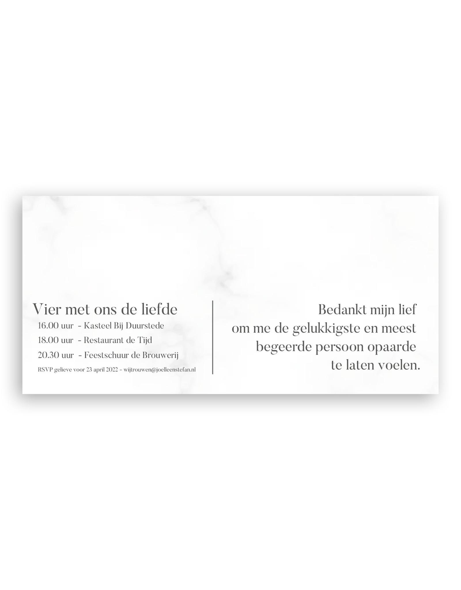 www.Robin.cards Trouwkaart luxe enkel lang Joëlle en Stefan