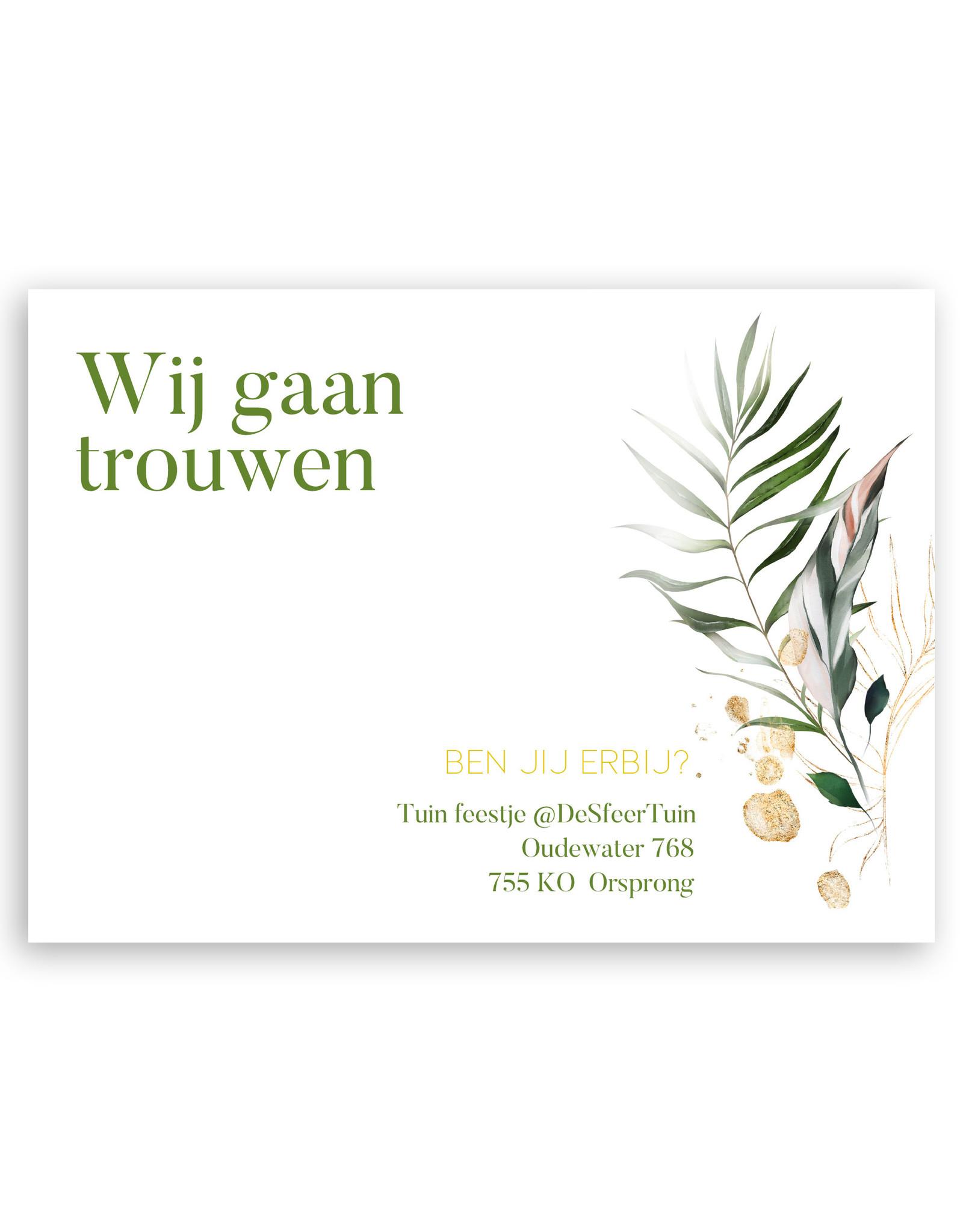 www.Robin.cards Trouwkaart luxe enkel rechthoek Kate en Johan