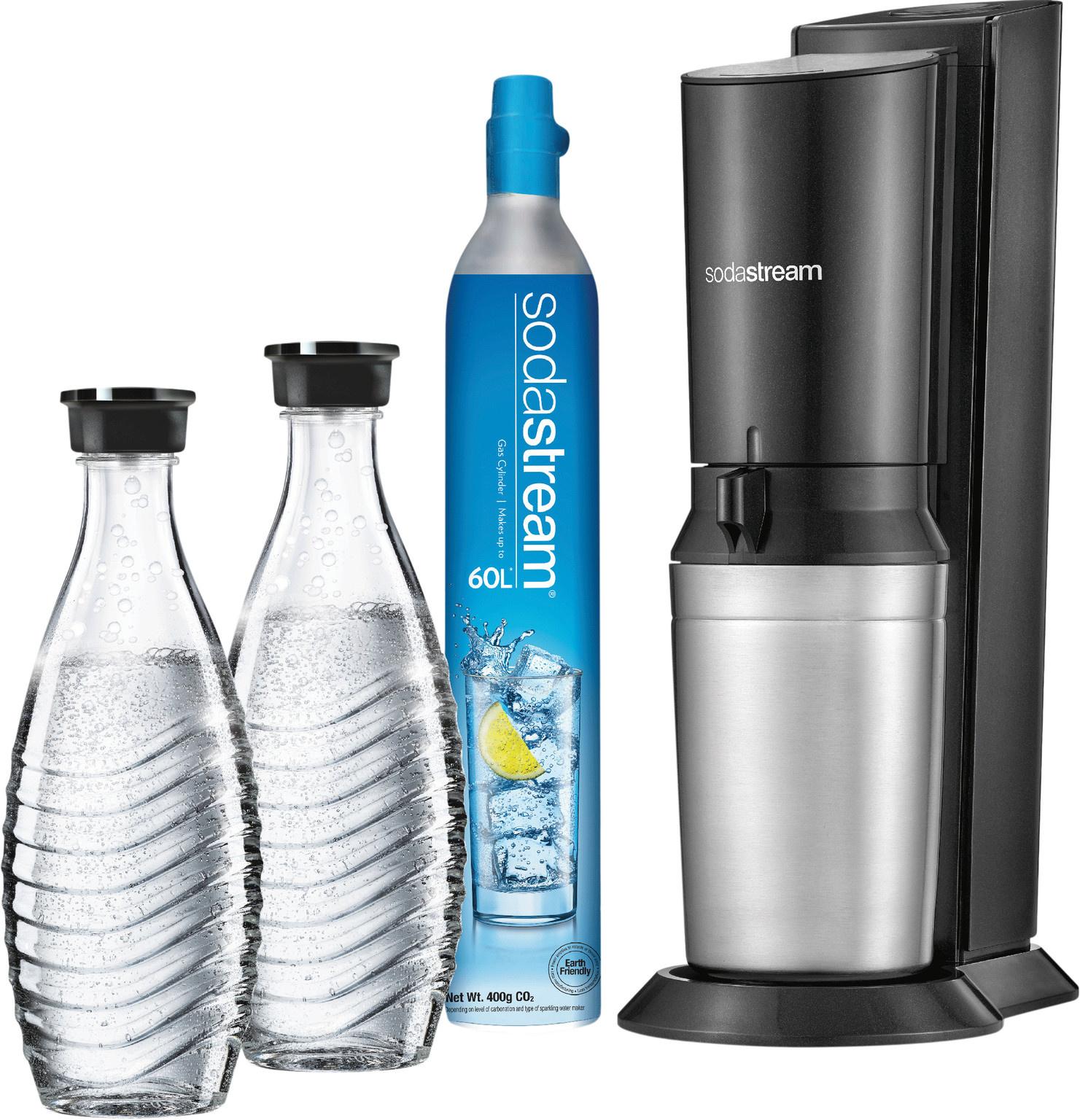 SodaStream Crystal Megapack Black + 2 karaffen en 60L CO2 cilinder
