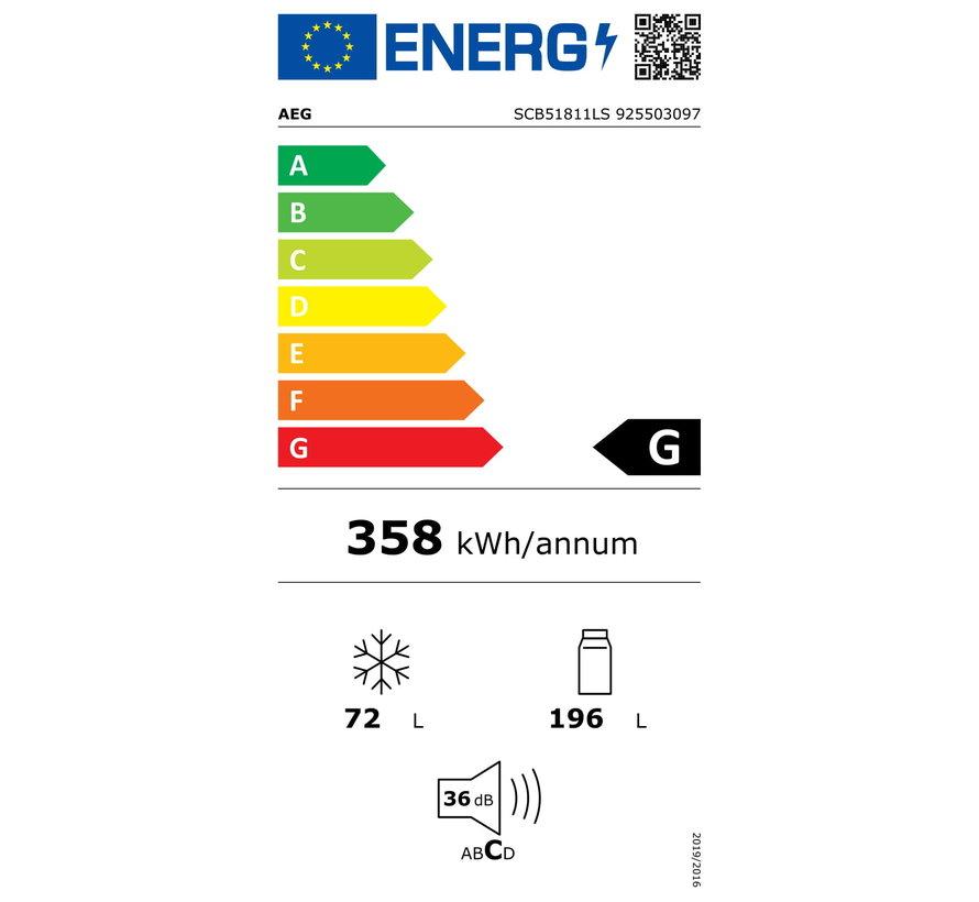 AEG SCB51811LS Inbouw koelvriescombinatie nis 178 cm