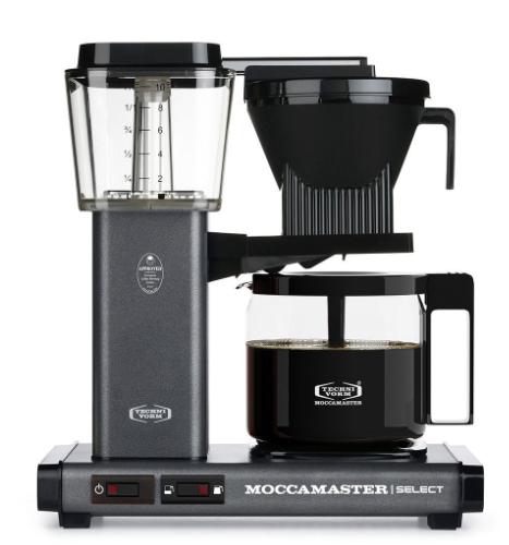Moccamaster KBG Select Stone Grey met Glaskan Koffiezetapparaat