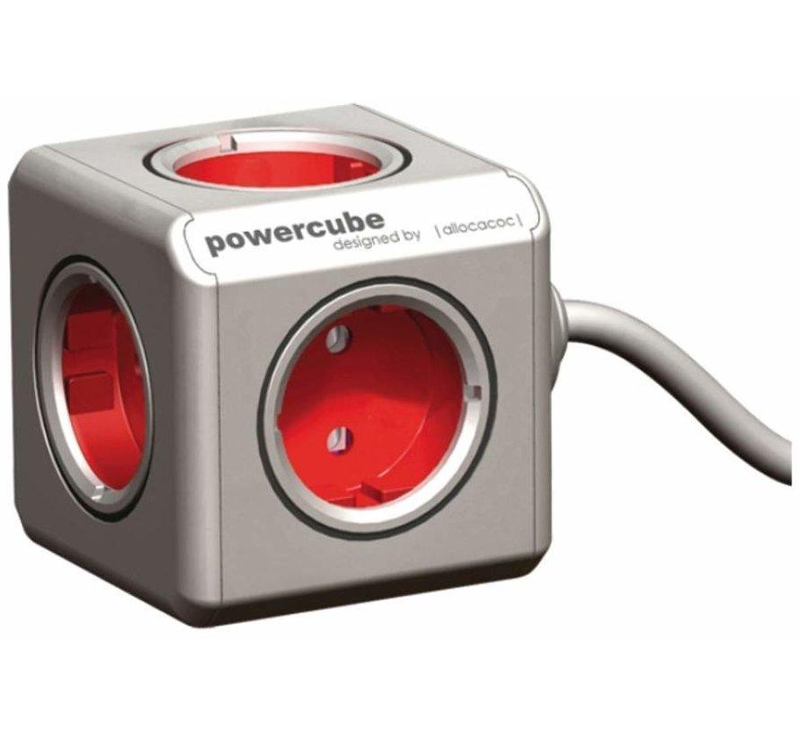 Allocacoc PowerCube Extended Rood 5-voudig Stekkerdoos