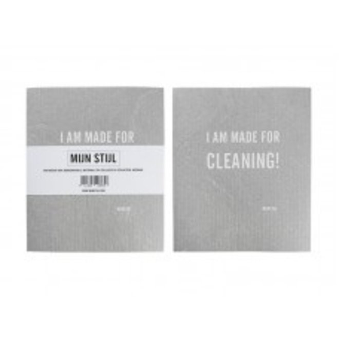 Vaatdoekje 100% biodegradable I am made for cleaning! Grijs met witte letters