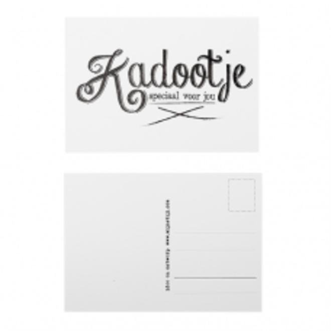 Ansichtkaart Kadootje wit/zwart