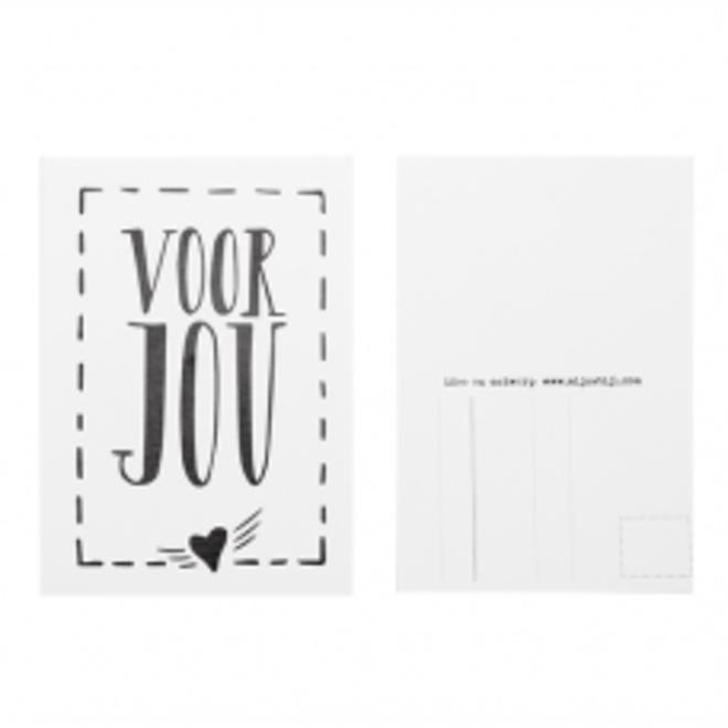 Ansichtkaart Voor Jou wit /zwart