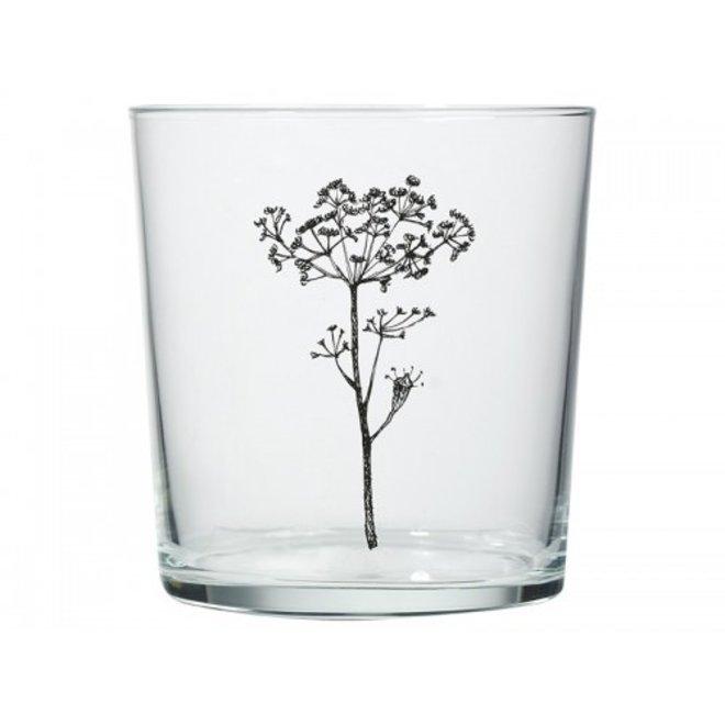 Glas zwarte bloem print