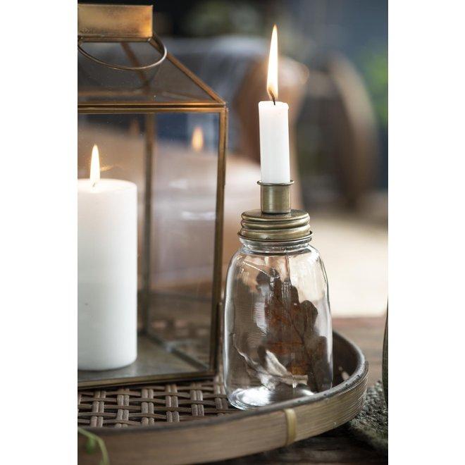 Kaarsenhouder van glas en metaal