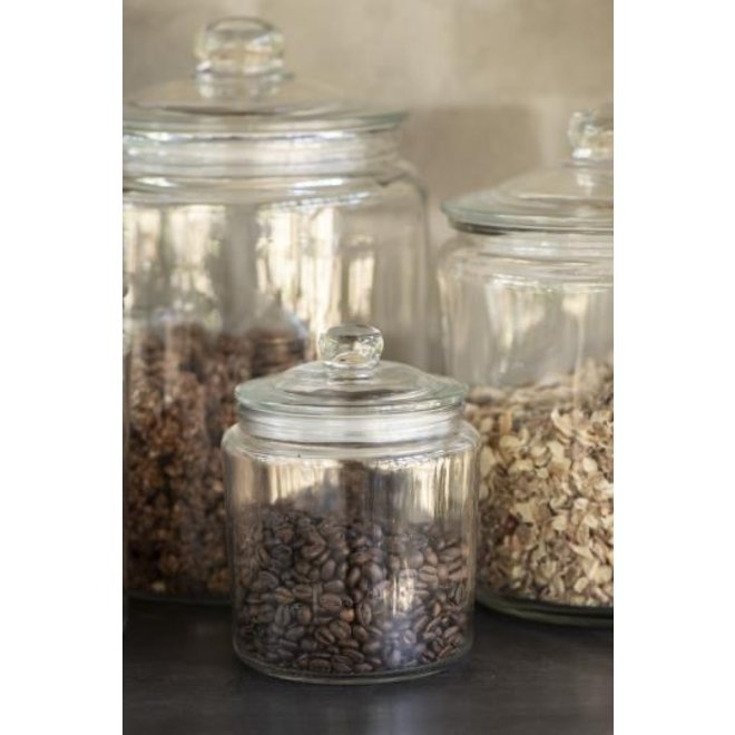 Glazen voorraad pot met rubberen ring in de deksel