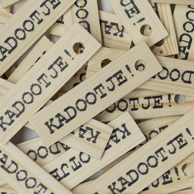 Houten label ''Kadootje''