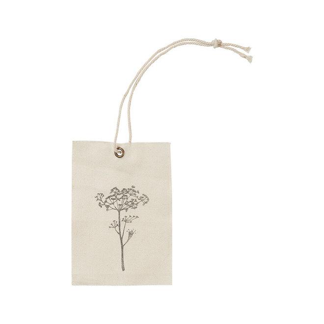 Label stof bloem