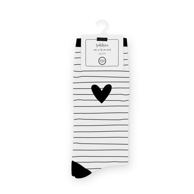 Sokken | Striped heart white | Maat 37-41