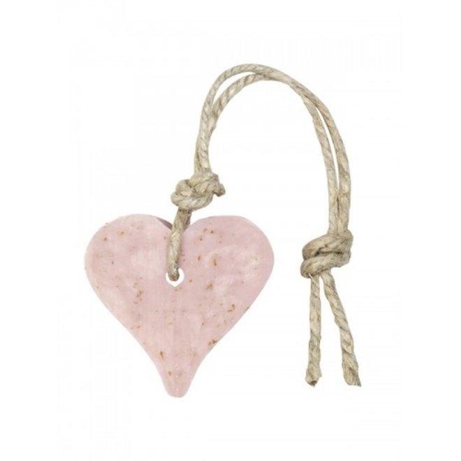 Hart zeep- licht roze- geur herbal meieze