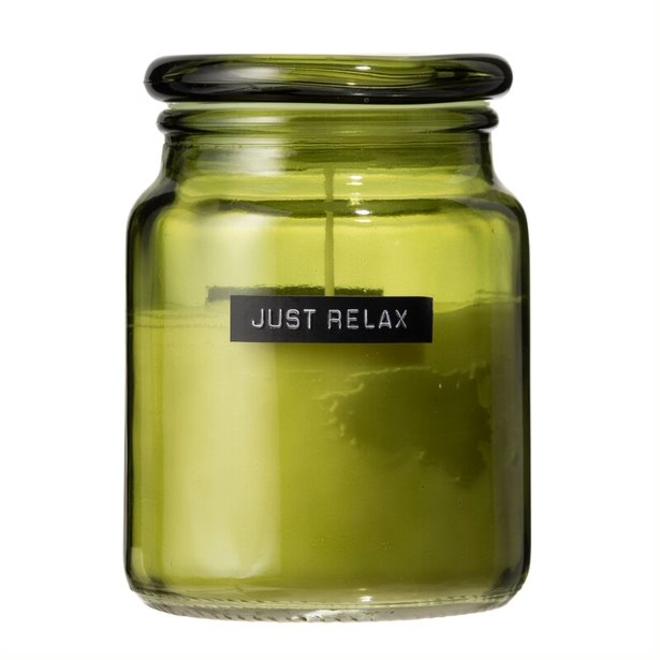 Grote geurkaars - groen glas Just Relax - Fresh Linnen