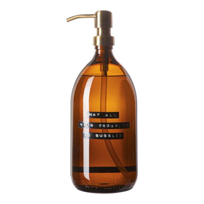 Handzeep bruin glas - messing pomp - Bamboe -1L