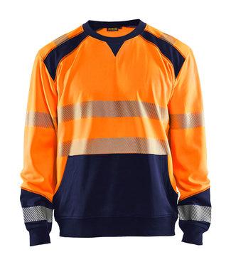 Blaklader Blaklader 3541 Reflecterende Werksweater Oranje/Marineblauw