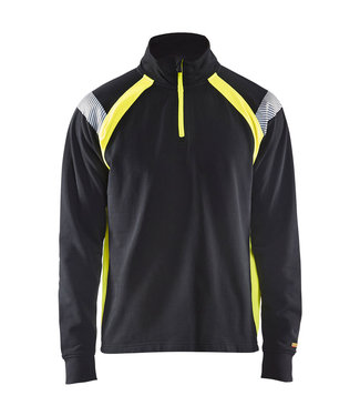 Blaklader Blaklader 3432 Werksweater Korte Rits Visible Zwart/Geel