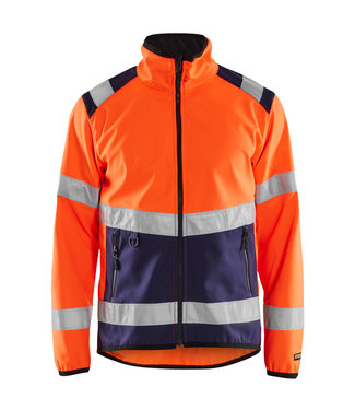 Blaklader Blaklader 4877 Reflecterende Softshell Werkjas Oranje/Marineblauw