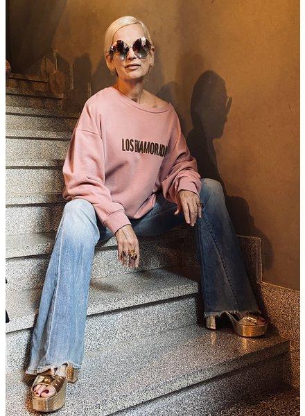Los Enamorados Embroidered Sweater - Pink