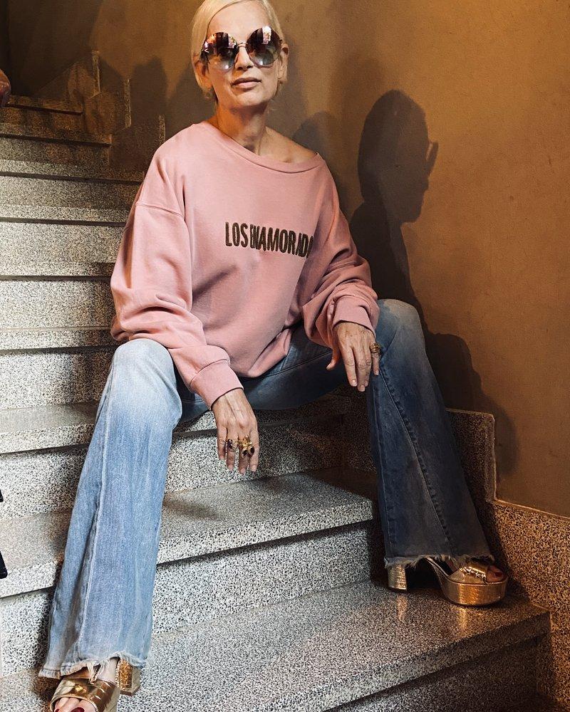 Los Enamorados Embroidered Pink Sweater