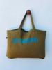 Los Enamorados Mustard Green Bag With Sea Green Los Enamorados Velvet Logo