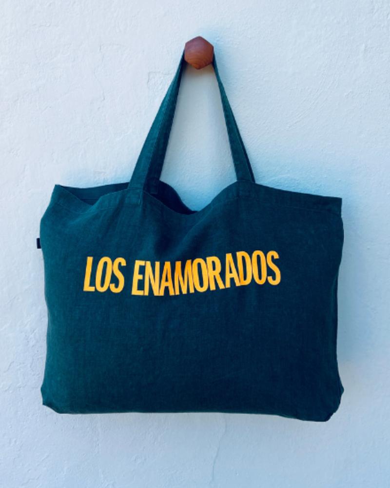 Los Enamorados Petrol Bag with Yellow Los Enamorados Velvet Logo