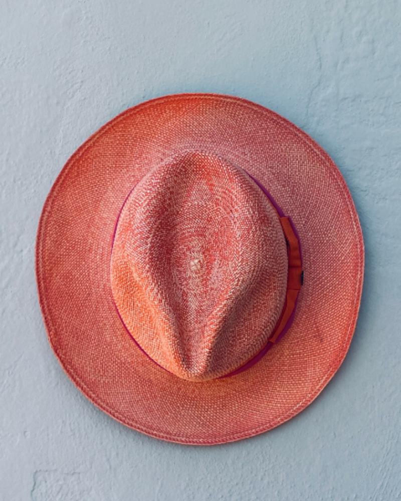 Ecua Andino for Los Enamorados Panama Hat - Orange with Pink/Orange Band