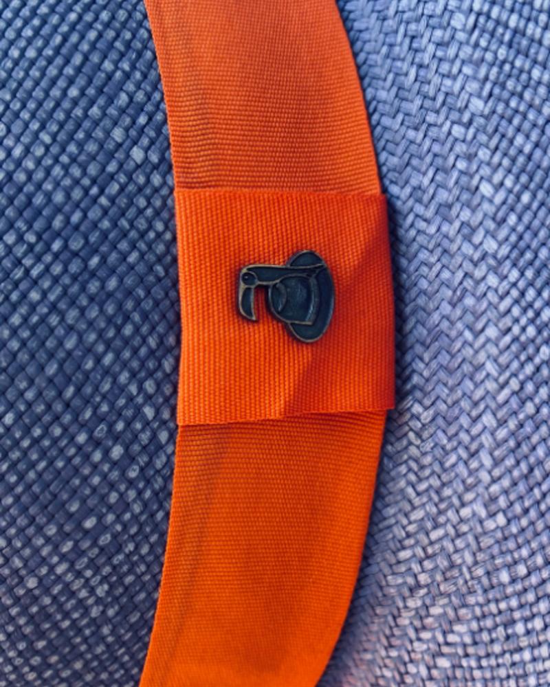 Ecua Andino for Los Enamorados Panama Hat - Blue Jeans with Orange Band