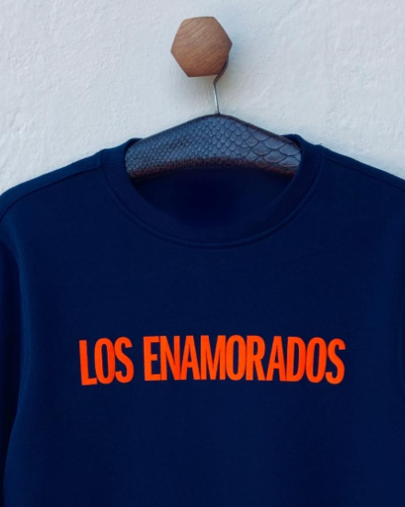 Los Enamorados Navy Blue Sweater with Orange Velvet Logo