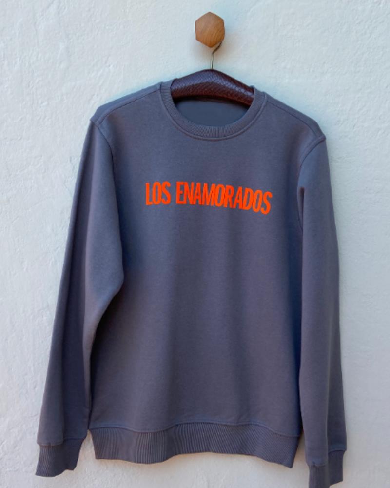 Los Enamorados Grey Sweater with Orange Velvet Logo