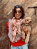Izuskan for Los Enamorados Pink/Terracota Tie and dye scarf