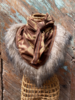 Izuskan for Los Enamorados Brown/Beige Tie and dye scarf