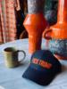 Los Enamorados Navy Blue Baseball Cap with Orange Fuck Trump