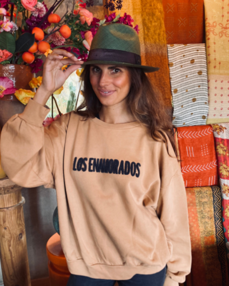 Los Enamorados Embroidered Brown Sweater with Brown Logo