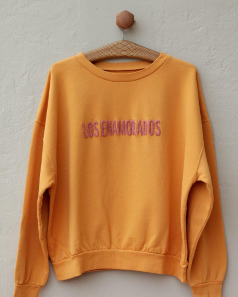 Los Enamorados Embroidered Honey Sweater with Pink Logo