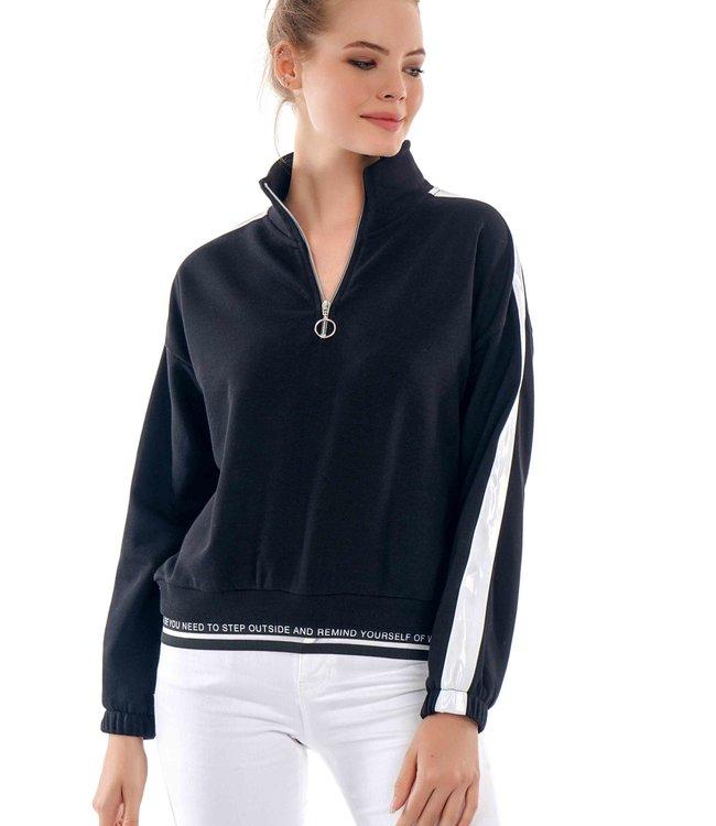J7340 Dames Sweater Stripe en Rits