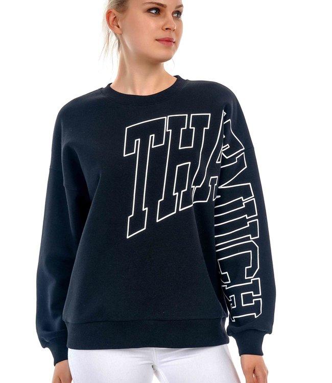 "J7320 Dames Sweater print ""THATMUCH"""