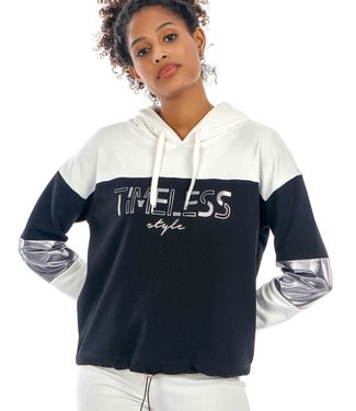 J7318 WOMEN HOODIE TWO-COLORED