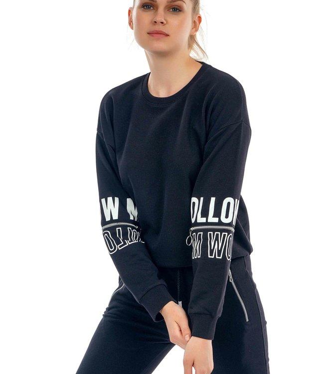 Dames Sweater J7305 met Embossed print en rits op mouw