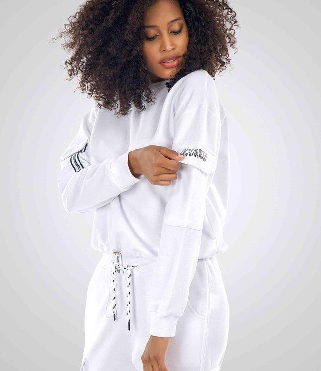 Dames Sweater met print op arm J7277