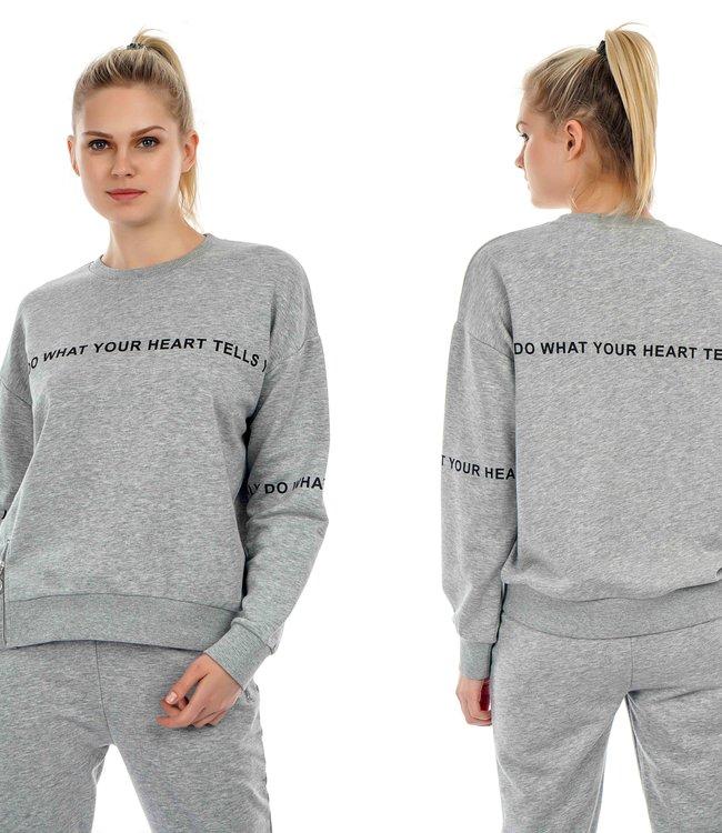 J7348 Dames Sweater Fine Print