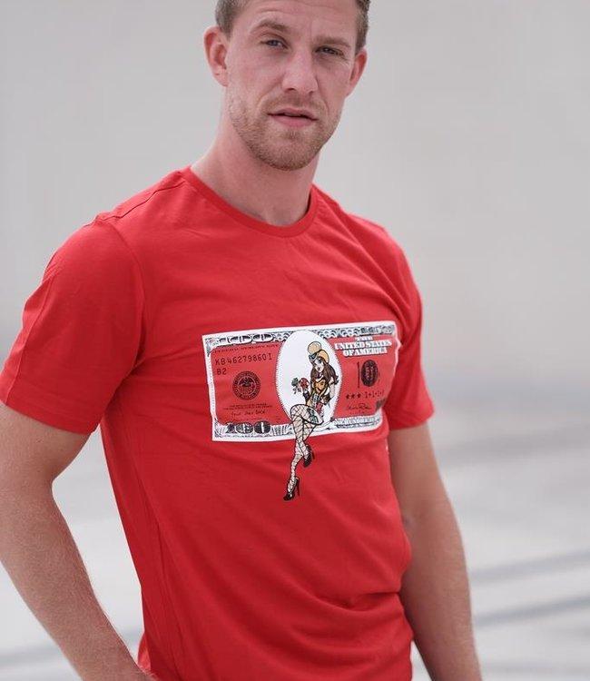 "T-shirt ""DOLLAR"" Rood"