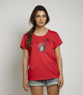 """T-shirt  """"S*XBOM SMALL"""" Rood"""